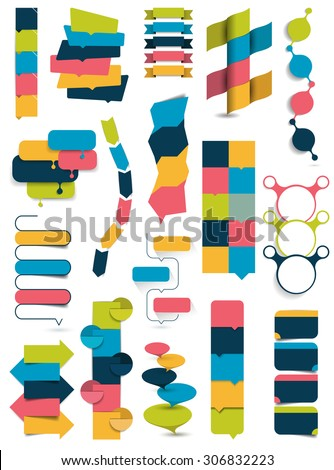 Big collection of collummn banners, numbered templates. Simply editable without text fields. Vector infographic. - stock vector