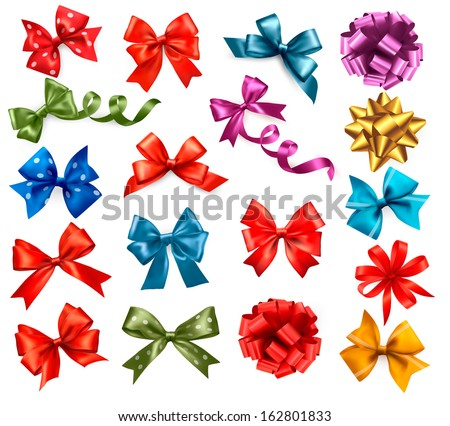 Big collection of color gift bows with ribbons. Vector illustration.  - stock vector