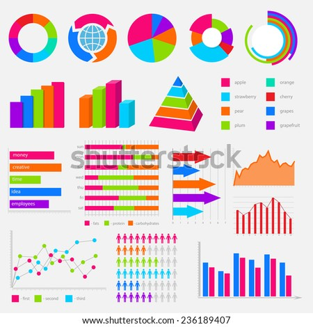 big collection of colorful vector diagrams and charts - stock vector