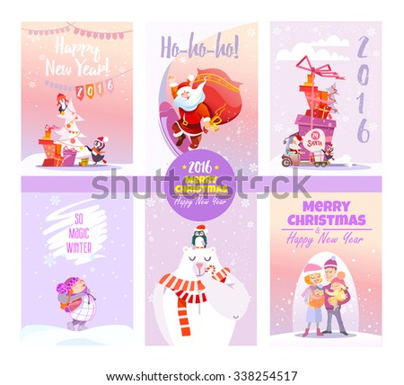 Big collection of cute christmas card templates.Winter collection.Printable cards set. Vector illustration - stock vector