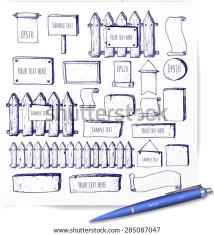 Big collection of cute pen sketch rustic background. Fences, plates, announcement boards and other objects. Hand-drawn with ink. Vector sketch illustration.  - stock vector