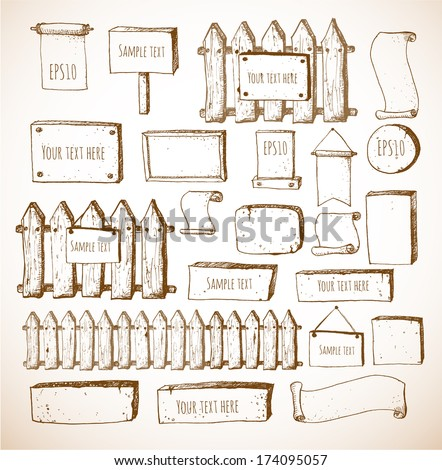 Big collection of cute sketch rustic backgrounds. Fences, plates, announcement boards and other objects. Hand-drawn with ink in vintage style. Vector sketch illustration. - stock vector