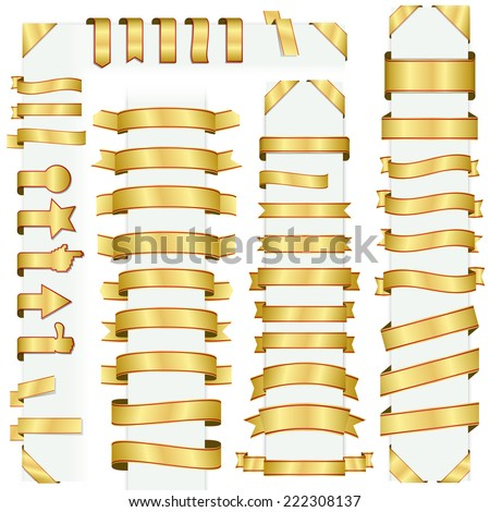 big collection of design retro banners gold - stock vector