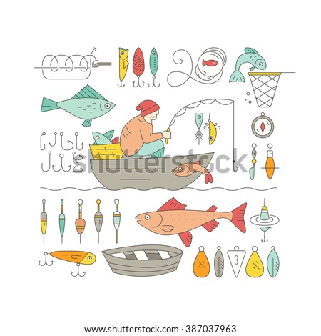 Big collection of fishing gear and other fishing related elements made in vector. Fisherman in the boat catching fish, rod, bobber, tackle and other fishing elements. - stock vector