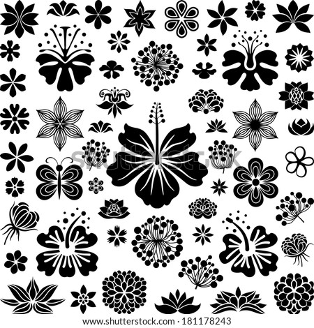 Big collection of flowers - stock vector