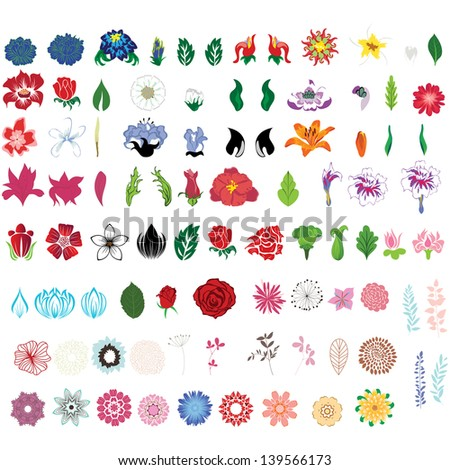 Big collection of flowers. Fully editable vector illustration. - stock vector