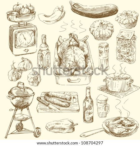 big collection of hand drawn food - stock vector