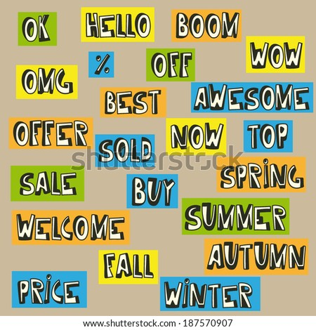big collection of isolated different words, comics outlines style - stock vector