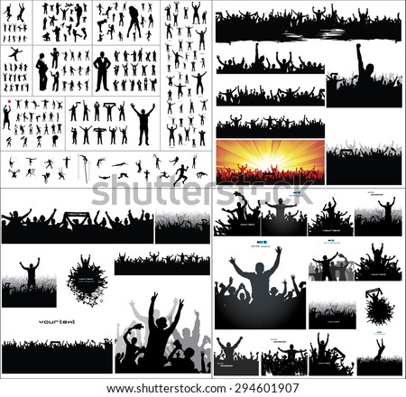 Big collection of silhouettes.And advertising banner for sports championships and concerts - stock vector