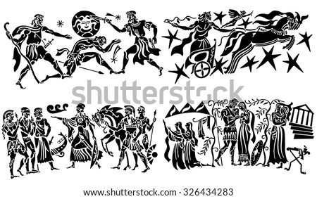 Big collection of silhouettes of Greeks - stock vector