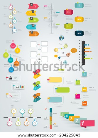 Big collection of timeline template. Vector infographic. - stock vector