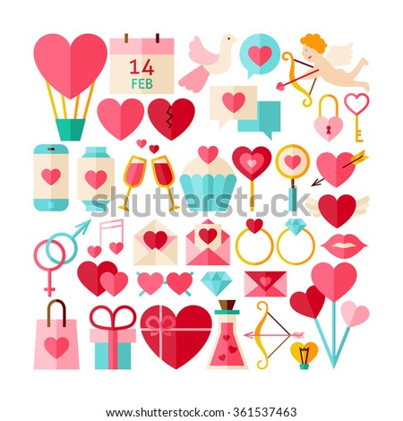 Big Collection of Valentine Day Objects. Flat Design Vector Illustration. Set of Love Wedding Colorful Items.  - stock vector