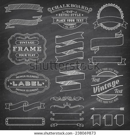 Big collection of vector Banners and Labels, with decorations, swirls and more vintage design elements on a detailed vector chalkboard background - stock vector