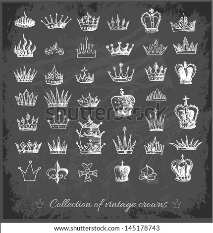 Big collection of vintage crowns in sketchy style on blackboard. Vector illustration. - stock vector