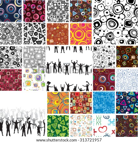 Big collection patterns on different topics - stock vector