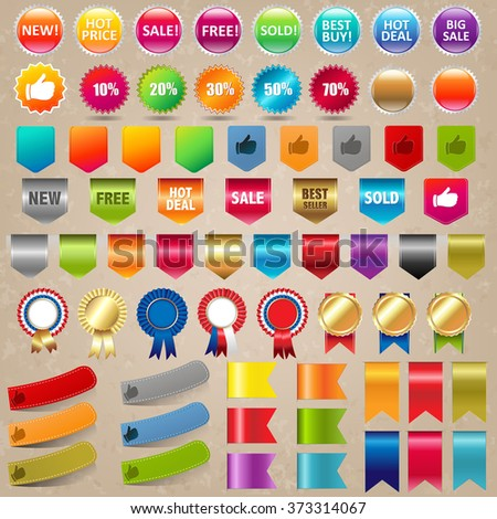 Big Collection Sale Stickers And Web Ribbon Set With Gradient Mesh, Vector Illustration - stock vector