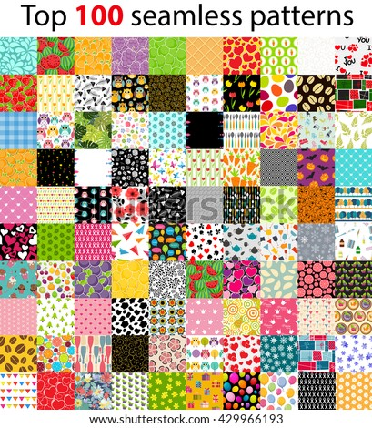 Big Collection, Set of 100 Top Seamless Pattern Backgrounds. Vector Illustration EPS10 - stock vector