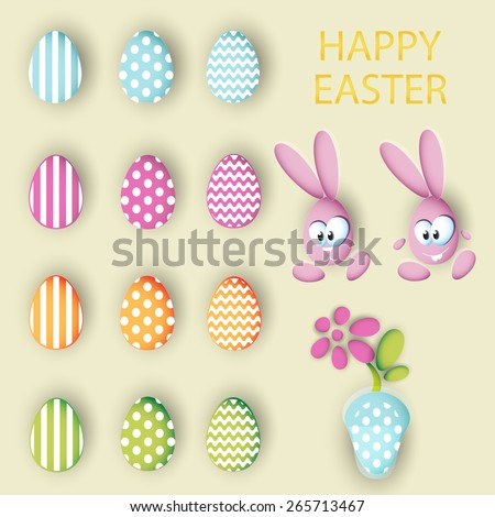 Big collection vector set of easter eggs, rabbits eggs and pot with a flower - stock vector