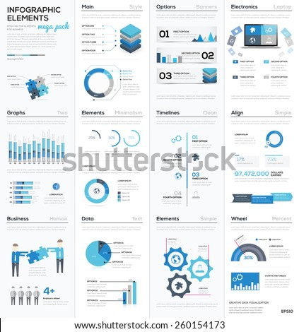 Big colletion of blue infographic business vector elements EPS10. Modern graphics for corporate brochures, website, magazines and many other publications. - stock vector