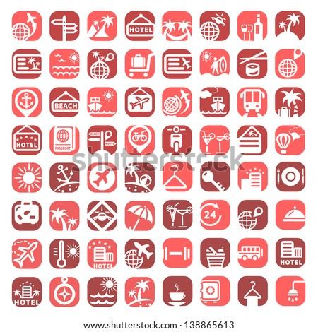 Big Color Travel Icons Set Created For Mobile, Web And Applications. - stock vector