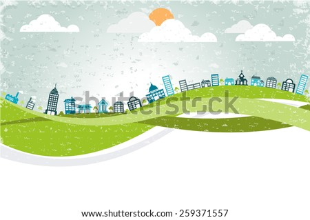 Big colorful city landscape with buildings - stock vector