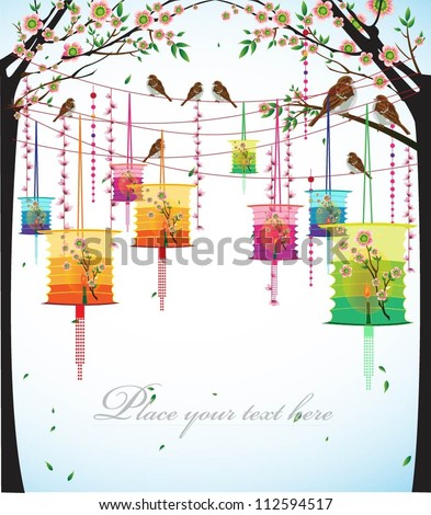 Big colorful lanterns will bring good luck and peace to prayer during Mid-Autumn Festival or Chinese New Year. Vector Illustration. - stock vector