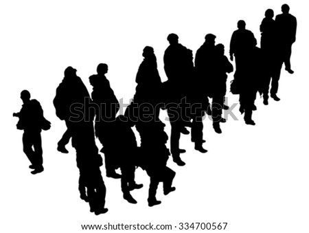 Big crowd of people on white background - stock vector