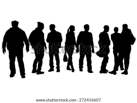 Big crowds people at street on white background - stock vector