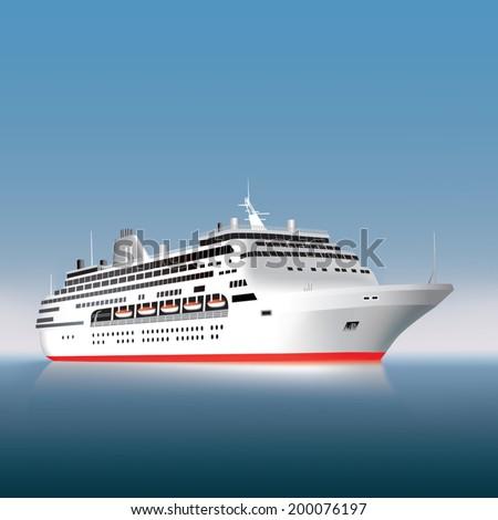 Big cruise ship on the sea or ocean. Vector illustration - stock vector