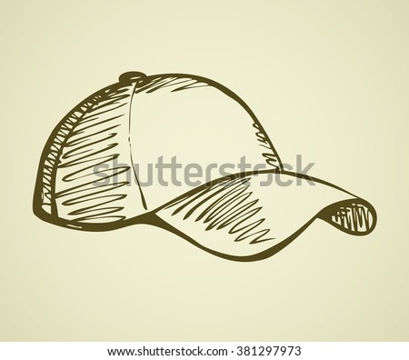 Big cute new rough sun shade cap design isolated on white backdrop. Freehand outline ink hand drawn symbol sign sketchy in art scribble retro style pen on paper. Closeup side view with space for text - stock vector