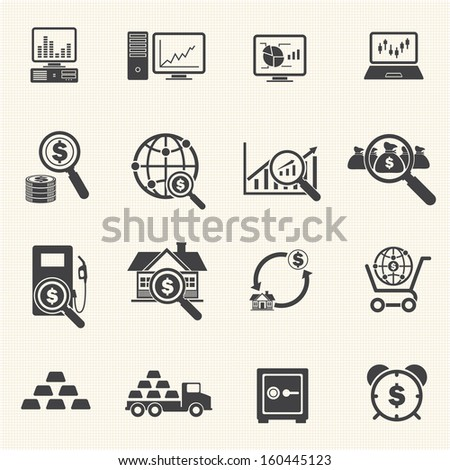 Big Data  and Finance Icons Set - stock vector