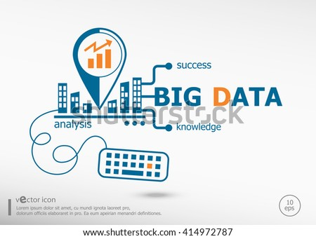 Big data and marketing concept. Big data concept for application development, creative process. - stock vector