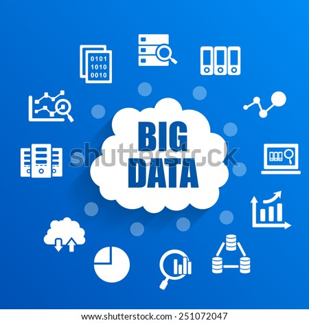 Big Data concept with icons - stock vector