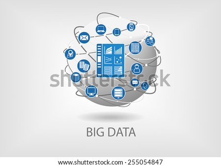 Big data digital analytics dashboard vector illustration. Business intelligence dashboard in order to analyze big data coming from smart devices and unstructured data - stock vector