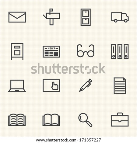 Big Data, Documents icon sets - stock vector