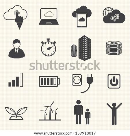 Big Data icon set, Cloud Computing - stock vector