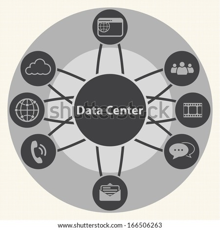 Big Data icon set, Data center and Centralized - stock vector