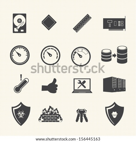 Big Data icon set, System Infrastructure - stock vector