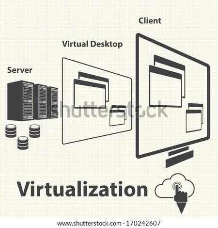 Big Data icon, Virtualization computing - stock vector