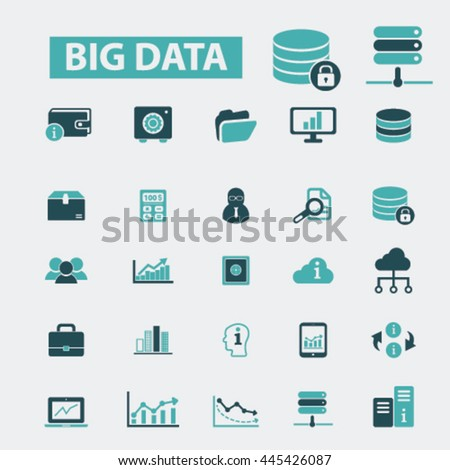 big data icons - stock vector