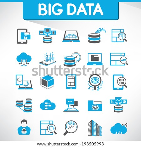 big data icons set and web analytics icons set - stock vector