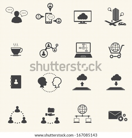 Big Data icons set, Business and social  - stock vector