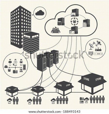 Big Data icons set, Cloud computing and network concept - stock vector