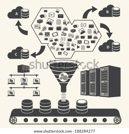 Big Data icons set, Cloud computing concept - stock vector