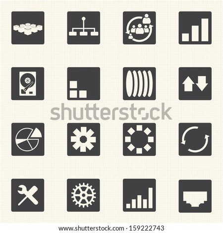 Big Data icons set, Diagram graphs - stock vector