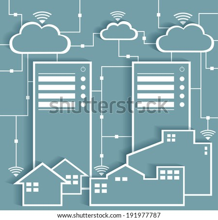 Big Data Paper Cutout Stickers with Cloud Computing  - stock vector