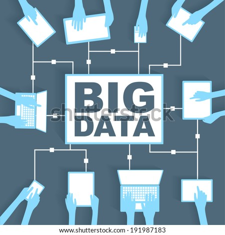 Big Data Paper Cutout with BYOD Device Network - stock vector