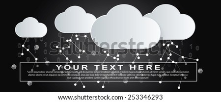 Big Data Storm made of cutout paper clouds, lightning links and binary numbers - stock vector