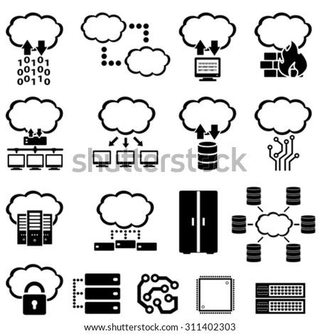 Big data, technology and cloud computing icons - stock vector