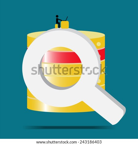 Big data technology search database and found problem - concept ideas with vintage color - stock vector